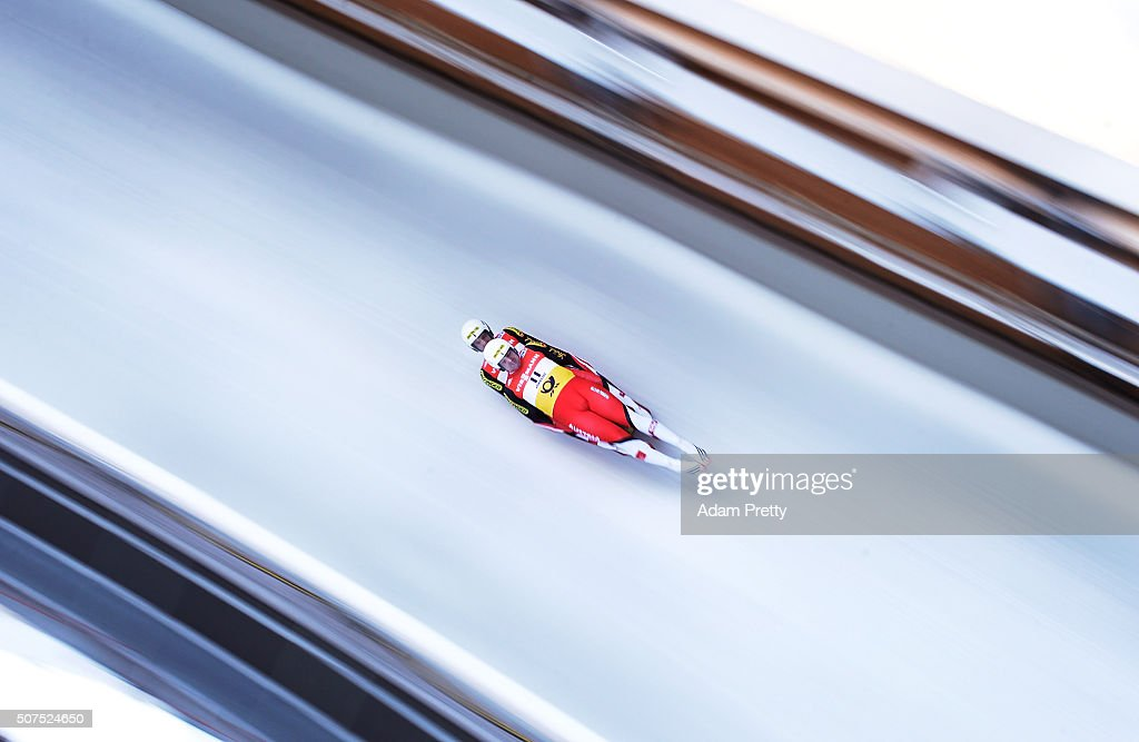 <a gi-track='captionPersonalityLinkClicked' href=/galleries/search?phrase=Peter+Penz&family=editorial&specificpeople=2293944 ng-click='$event.stopPropagation()'>Peter Penz</a> and <a gi-track='captionPersonalityLinkClicked' href=/galleries/search?phrase=Georg+Fischler&family=editorial&specificpeople=2293943 ng-click='$event.stopPropagation()'>Georg Fischler</a> of Austria complete their first run during Day 1 of the Luge World Championships 2016 at Deutsche Post Eisarena Koenigssee on January 30, 2016 in Koenigssee, Germany.