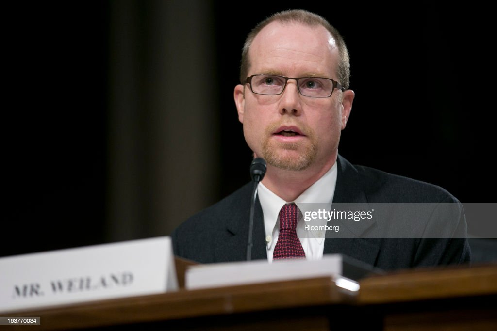 Peter 'Pete' Weiland, former head of market risk for the chief investment office at JPMorgan Chase & Co., speaks during a Senate Permanent Subcommittee on Investigations hearing in Washington, D.C., U.S., on Friday, March 15, 2013. JPMorgan Chase, the biggest U.S. bank by assets, compensated chief investment office traders in a way that encouraged risk-taking before the unit amassed losses exceeding $6.2 billion, a Senate committee said. Photographer: Andrew Harrer/Bloomberg via Getty Images