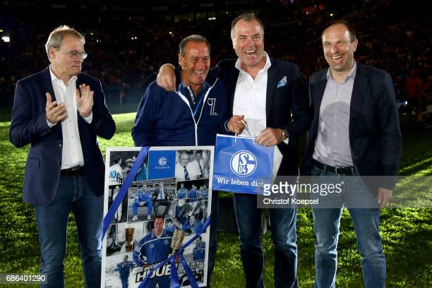 Peter Peters member of the board Alexander Jobstmember of the board and Clemens Toennies chairman of the board honour head coach Huub Stevens of...