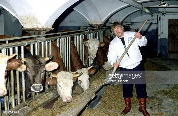 Peter Petrel Kühe FitnessUrlaub auf einem Bauernhof Chiemgau/Bayern Kuhstall ausmisten Forke Mist Stall Tier Kuh Bart Sänger Schlagersänger Promis...