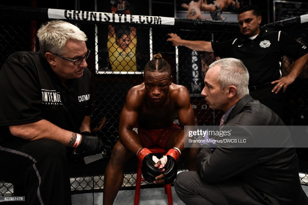 Peter Petties reacts to his loss in their featherweight bout with Julio Arce during Dana White's Tuesday Night Contender Series at the TUF Gym on August 8, 2017 in Las Vegas, Nevada.