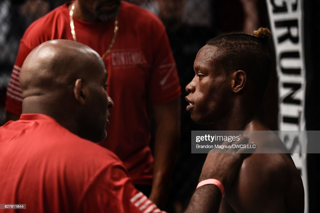 Peter Petties rests in his corner in between rounds while facing Julio Arce in their featherweight bout during Dana White's Tuesday Night Contender Series at the TUF Gym on August 8, 2017 in Las Vegas, Nevada.