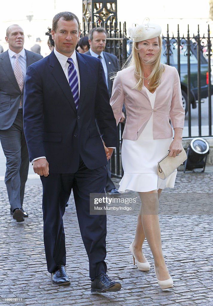 Peter Phillips and Autumn Phillips attend a service of celebration to mark the 60th anniversary of the Coronation of Queen Elizabeth II at Westminster Abbey on June 4, 2013 in London, England. The Queen's Coronation took place on June 2, 1953 after a period of mourning for her father King George VI, following her ascension to the throne on February 6, 1952. The event 60 years ago was the first time a coronation was televised for the public.