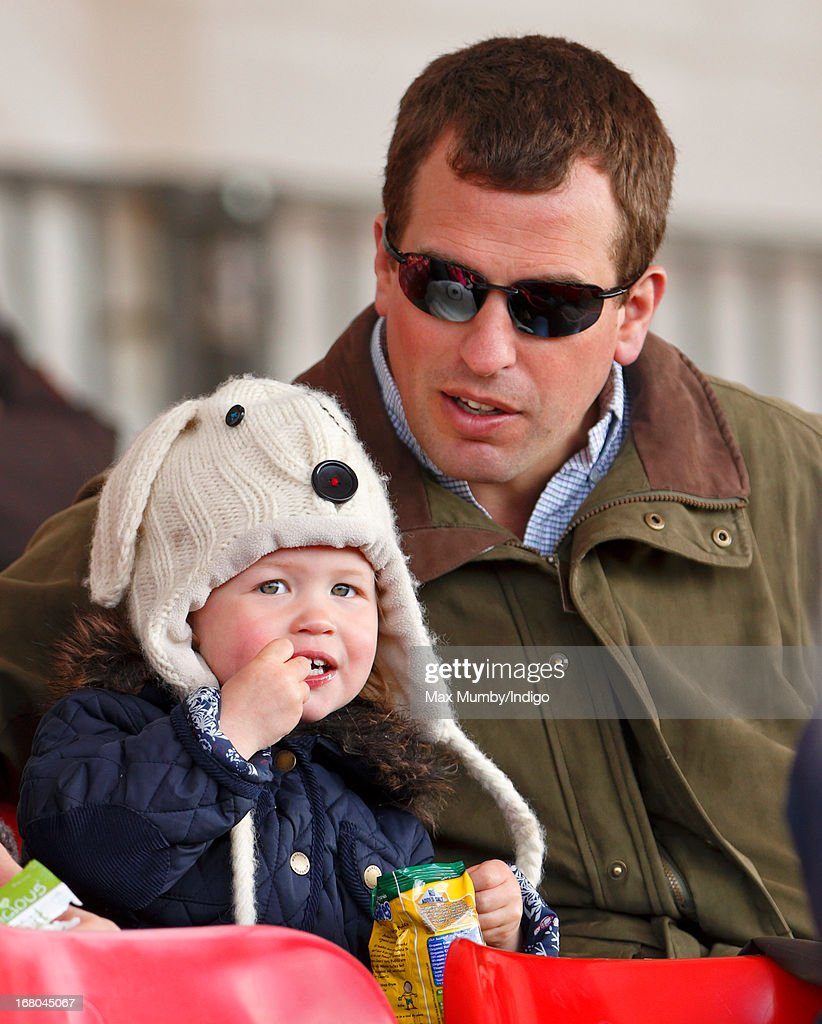<a gi-track='captionPersonalityLinkClicked' href=/galleries/search?phrase=Peter+Phillips&family=editorial&specificpeople=160043 ng-click='$event.stopPropagation()'>Peter Phillips</a> and daughter Savannah Phillips watch Zara Phillips compete in the dressage phase of the Badminton Horse Trials on May 4, 2013 in Badminton, England.