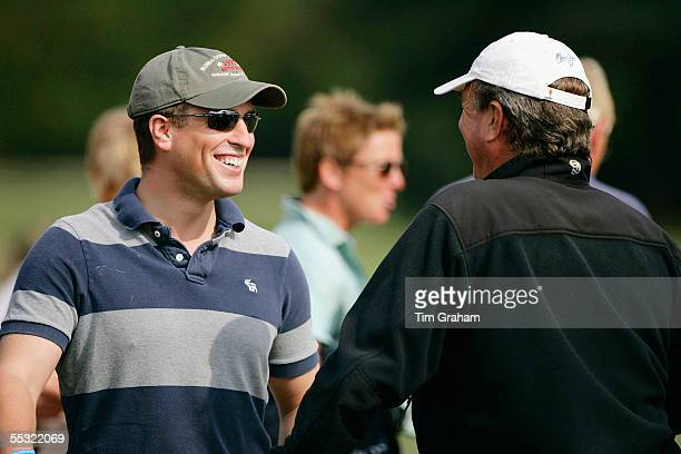Peter Phillips and father Mark Phillips attend the European Eventing Championships held at Blenheim Palace to watch Zara Phillips compete for Britain...