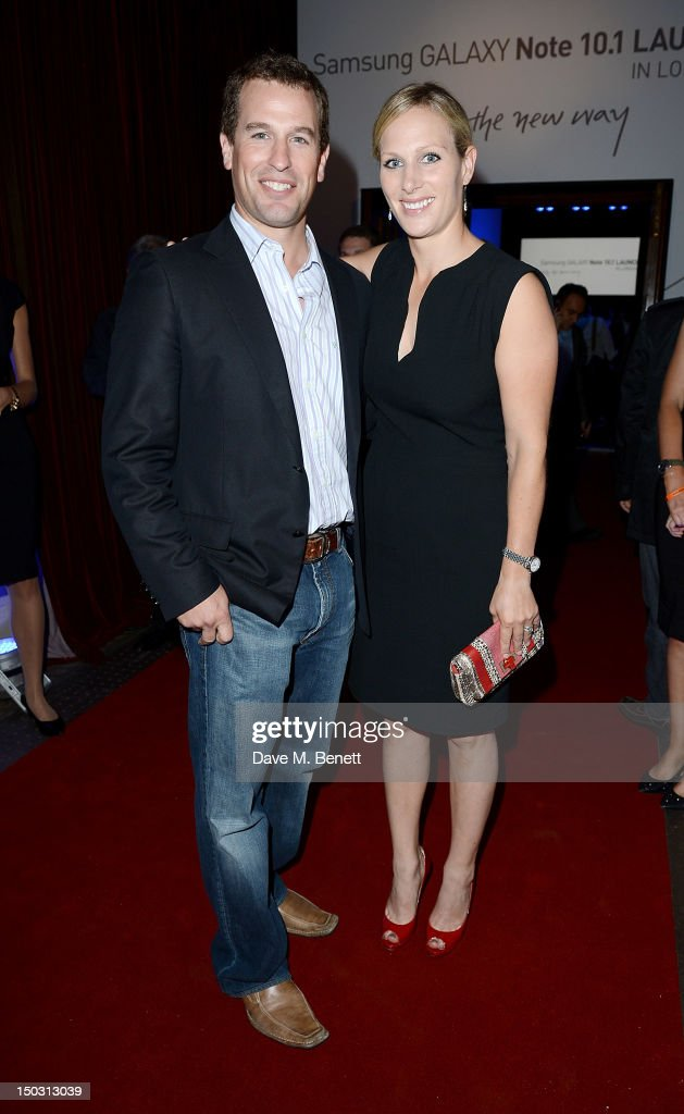 Peter Phillips (L) and Zara Phillips attend the Samsung Galaxy Note 10.1 launch party at One Mayfair on August 15, 2012 in London, England.