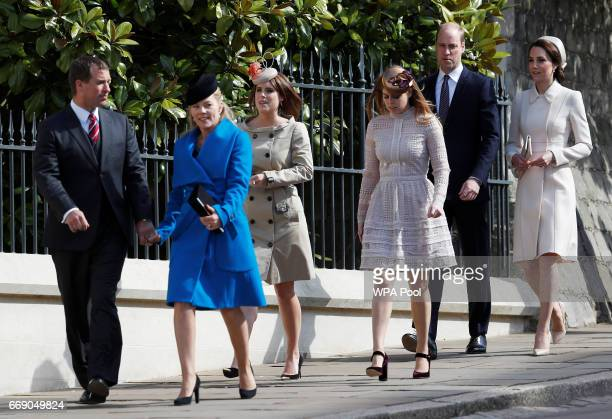 Peter Phillips Autumn Phillips Princess Eugenie Princess Beatrice Prince William Duke of Cambridge and Catherine Duchess of Cambridge attend the...