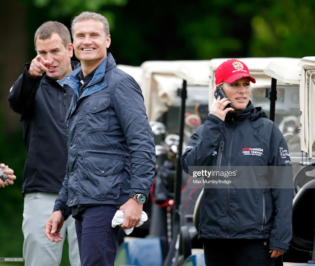 Peter Phillips, David Coulthard and Zara Phillips attend the 5th edition of the 'ISPS Handa Mike Tindall Celebrity Golf Classic' at The Belfry on May 19, 2017 in Sutton Coldfield, England.