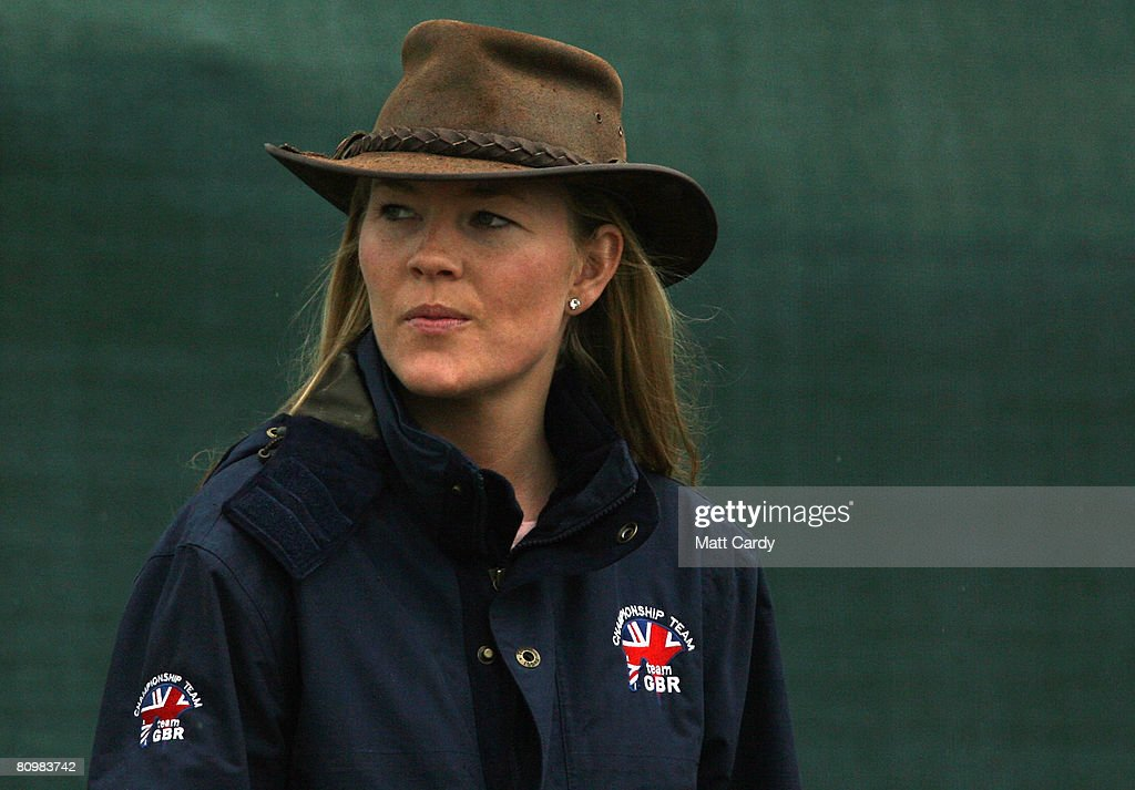 Peter Phillips fiance Autumn Kelly leaves the show jumping during the Badminton Horse Trials on May 4 2008 in Badminton, England. Reigning world champion Zara Phillips rode Glenbuck and Ardfield Magic Star at the event - as the British equestrian team look to finalise their 2008 Olympics squad. The event started with two days of dressage then went into cross country before finishing with the jumping test today.