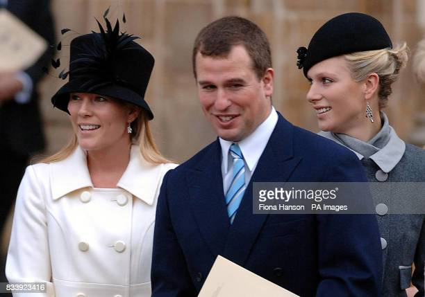 Peter Phillips fiancee Autumn left and sister Zara leave Westminster Abbey London after a service of celebration to mark the diamond wedding...