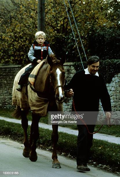 Peter Phillips rides a horse circa 1984