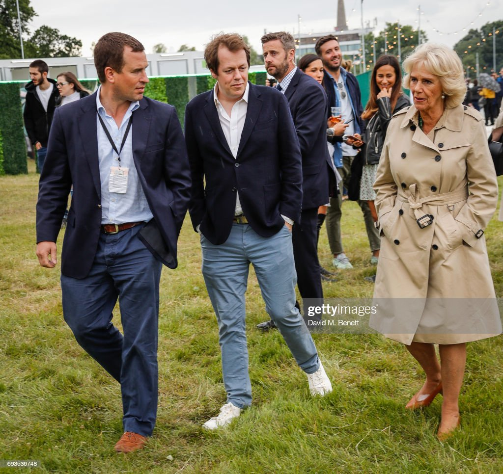Peter Phillips, Tom Parker Bowles and Camilla, Duchess of Cornwall attend The Bulleit Woody at London Food Month's Night Market with The London Evening Standard on June 7, 2017 in London, England.