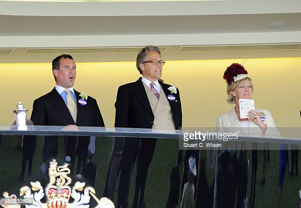 Peter Phillips watches race 2 from the Royal Box during Day 4 of Royal Ascot at Ascot Racecourse on June 20 2014 in Ascot England