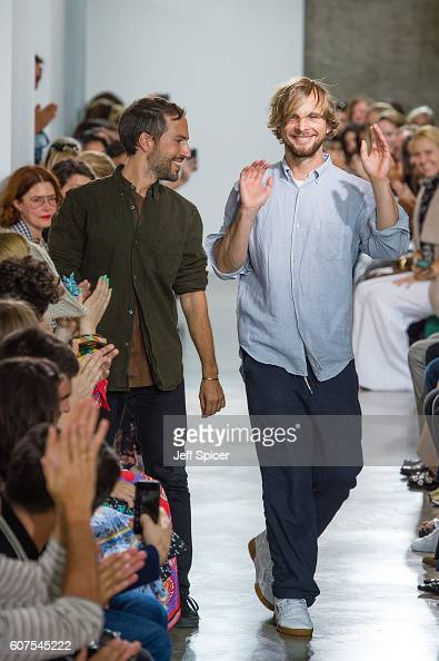 Peter Pilotto and Christopher De Vos at the Peter Pilotto show during London Fashion Week Spring/Summer collections 2017 on September 18 2016 in...
