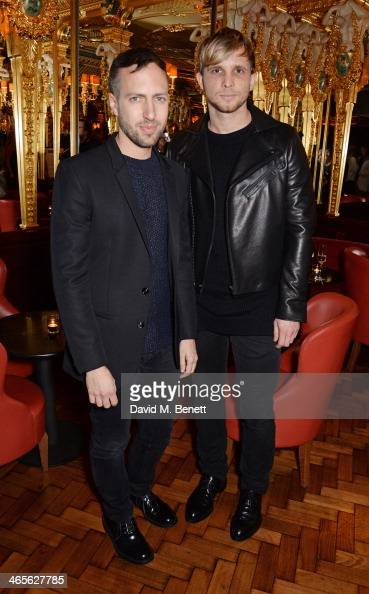 Peter Pilotto and Christopher de Vos attend the BFC/Vogue Fashion Fund winner's announcement at the Cafe Royal on January 28 2014 in London England