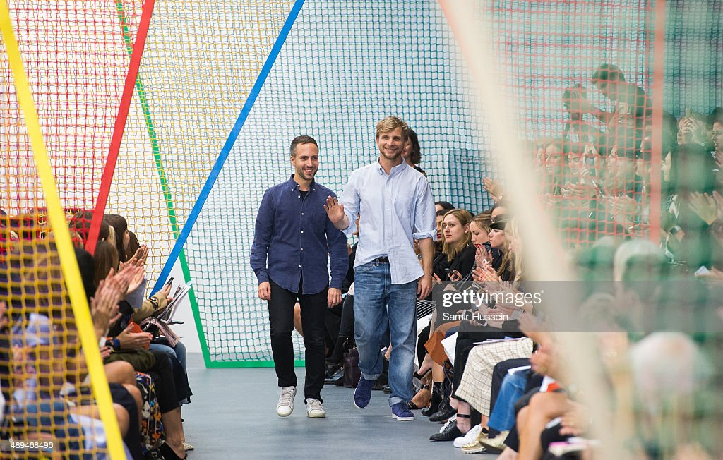 Peter Pilotto and Christopher De Vos walk the runway at the Peter Pilotto show during London Fashion Week Spring/Summer 2016/17 on September 21 2015...
