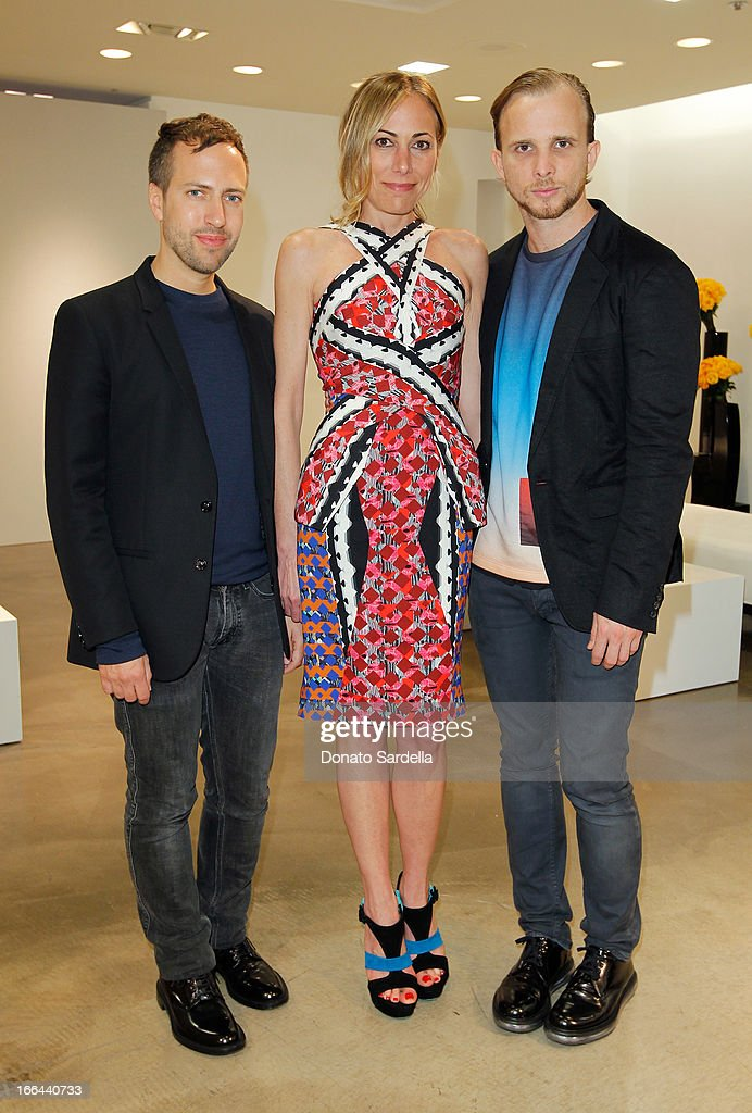 Peter Pilotto, <a gi-track='captionPersonalityLinkClicked' href=/galleries/search?phrase=Angelique+Soave&family=editorial&specificpeople=5605220 ng-click='$event.stopPropagation()'>Angelique Soave</a> and Christopher De Vos attend Saks Fifth Avenue presents Peter Pilotto at Saks Fifth Avenue Beverly Hills on April 12, 2013 in Beverly Hills, California.