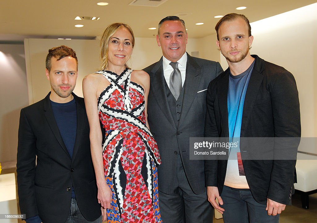 Peter Pilotto, John Cruz, Saks Fifth Avenue Beverly Hills manager, <a gi-track='captionPersonalityLinkClicked' href=/galleries/search?phrase=Angelique+Soave&family=editorial&specificpeople=5605220 ng-click='$event.stopPropagation()'>Angelique Soave</a> and Christopher De Vos attend Saks Fifth Avenue presents Peter Pilotto at Saks Fifth Avenue Beverly Hills on April 12, 2013 in Beverly Hills, California.