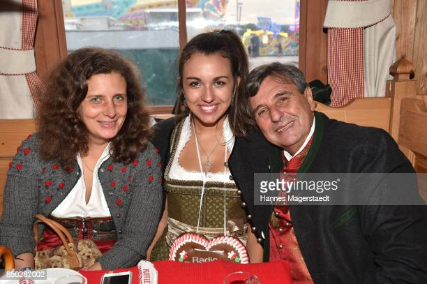 Peter Pongratz and his wife Arabella Pongratz and their daughter Ramona Pongratz attend the Radio Gong 963 Wiesn during the Oktoberfest 2017 on...
