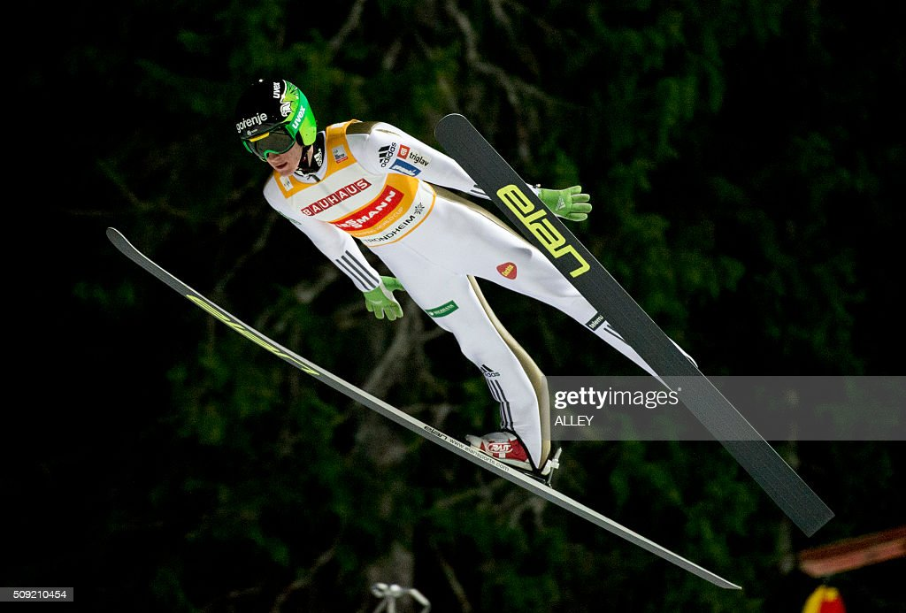 Peter Prevc from Slovenia in the air during training and qualification for FIS Ski Jumping World Cup competition in Trondheim, on February 9, 2016. P / AFP / NTB SCANPIX / Alley, Ned / Norway OUT