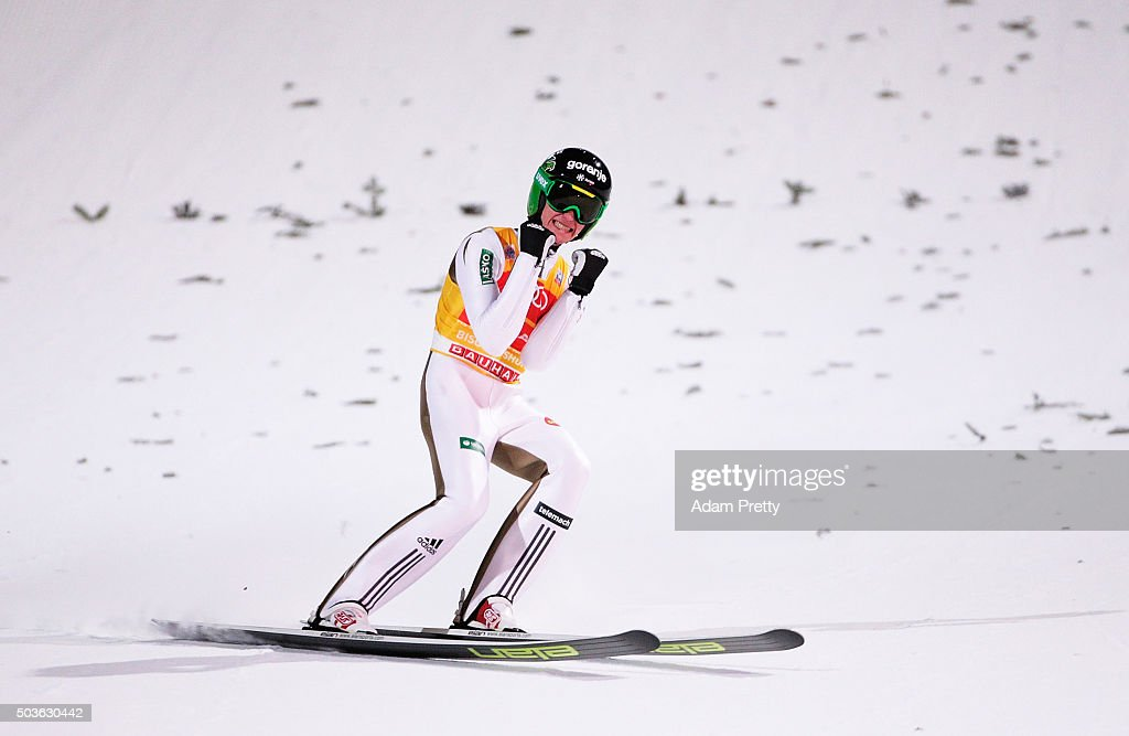 Peter Prevc of Slovenia celebrates victory and overall victory after landing his final competition jump on day 2 of the 64th Four Hills Tournament in...