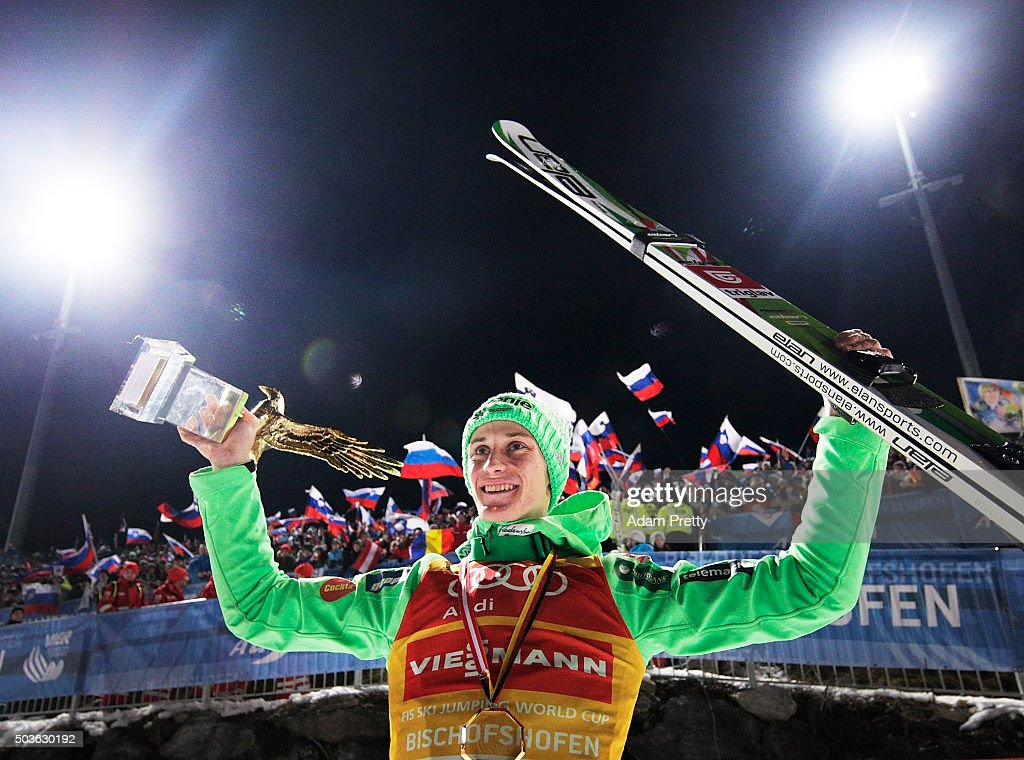 Peter Prevc of Slovenia celebrates victory and overall victory with the Four Hills trophy on day 2 of the 64th Four Hills Tournament in Bischofshofen...