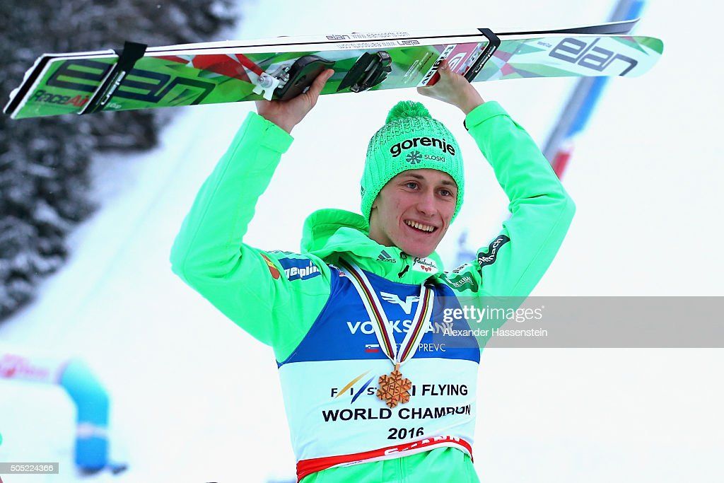 <a gi-track='captionPersonalityLinkClicked' href=/galleries/search?phrase=Peter+Prevc&family=editorial&specificpeople=6667561 ng-click='$event.stopPropagation()'>Peter Prevc</a> of Slovenia celebrates winning the first place of the FIS Ski Flying World Championship 2016 during day 3 at the Kulm on January 16, 2016 in Bad Mitterndorf, Austria.