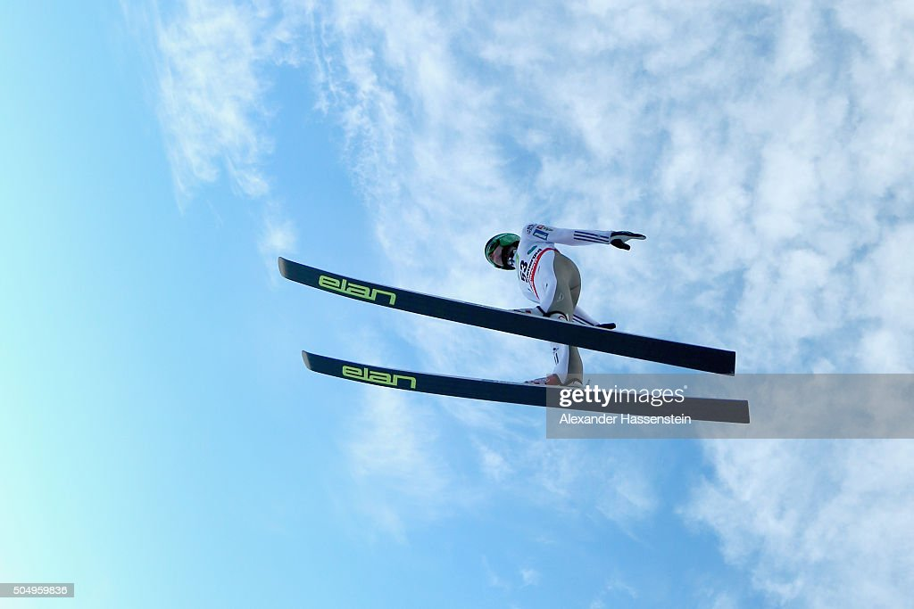<a gi-track='captionPersonalityLinkClicked' href=/galleries/search?phrase=Peter+Prevc&family=editorial&specificpeople=6667561 ng-click='$event.stopPropagation()'>Peter Prevc</a> of Slovenia competes at the qualification round for the FIS Ski Flying World Championship 2016 during day 1 at the Kulm on January 14, 2016 in Bad Mitterndorf, Austria.