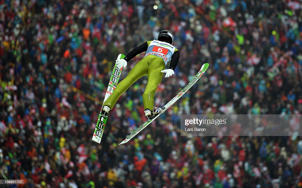 Peter Prevc of Slovenia competes during the first round for the FIS Ski Jumping World Cup event of the 61st Four Hills ski jumping tournament at Bergisel-Stadion on January 4, 2013 in Innsbruck, Austria.