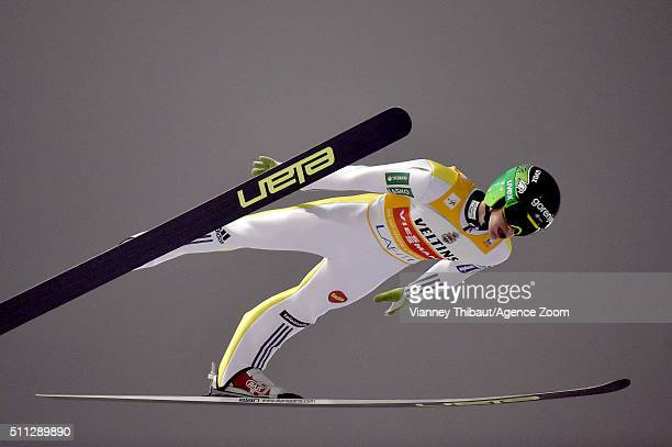 Peter Prevc of Slovenia competes during the FIS Nordic World Cup Men's Ski Jumping HS130 on February 19 2016 in Lahti Finland