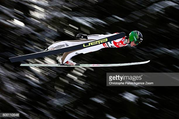 Peter Prevc of Slovenia competes during the FIS Ski Flying World Championships Men's HS225 on January 15 2016 in Bad Mitterndorf Austria