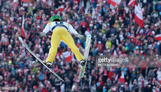 Peter Prevc of Slovenia competes during the FIS Ski Jumping World Cup Team Competition on January 23 2016 in Zakopane / AFP / PIOTR NOWAK
