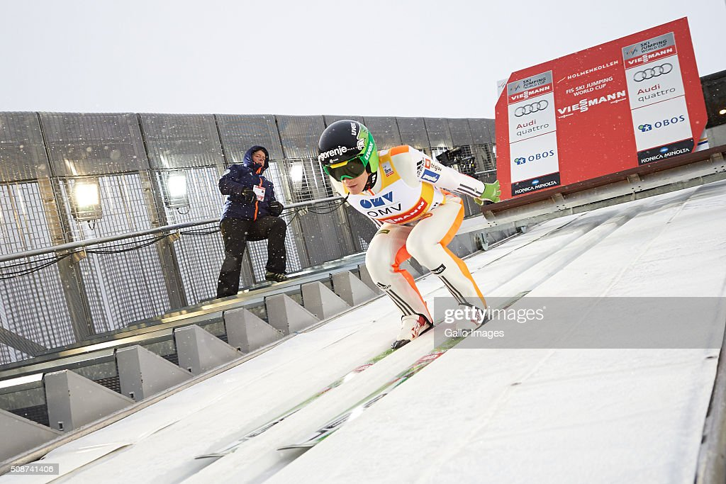 Peter Prevc of Slovenia competes during the FIS Ski Jumping World Cup Men's HS134 Qualification on February 5, 2016 in Oslo, Norway. FIS is the governing body for international skiing and snowboarding.
