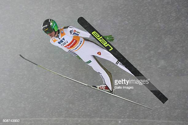 Peter Prevc of Slovenia competes during the FIS Ski Jumping World Cup Men's HS134 Qualification on February 5 2016 in Oslo Norway FIS is the...