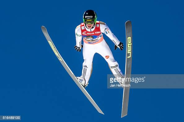 Peter Prevc of Slovenia competes in the first run of flying hill team competition of the FIS Ski Jumping World Cup at Planica on March 19 2016 in...