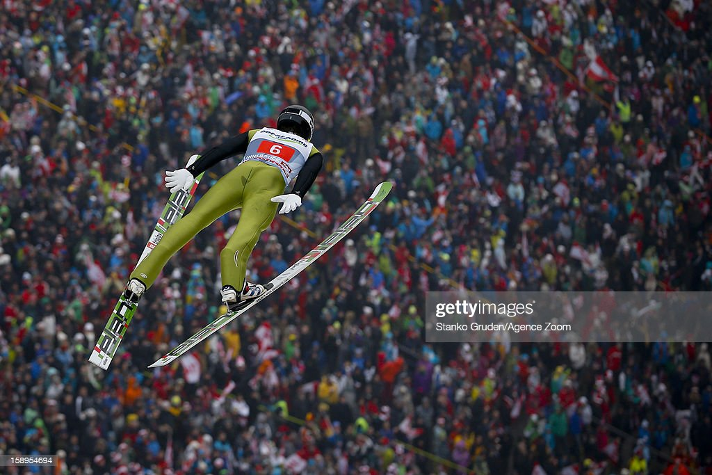Peter Prevc of Slovenia during the FIS Ski Jumping World Cup Vierschanzentournee (Four Hills Tournament) on January 04, 2013 in Innsbruck, Austria.