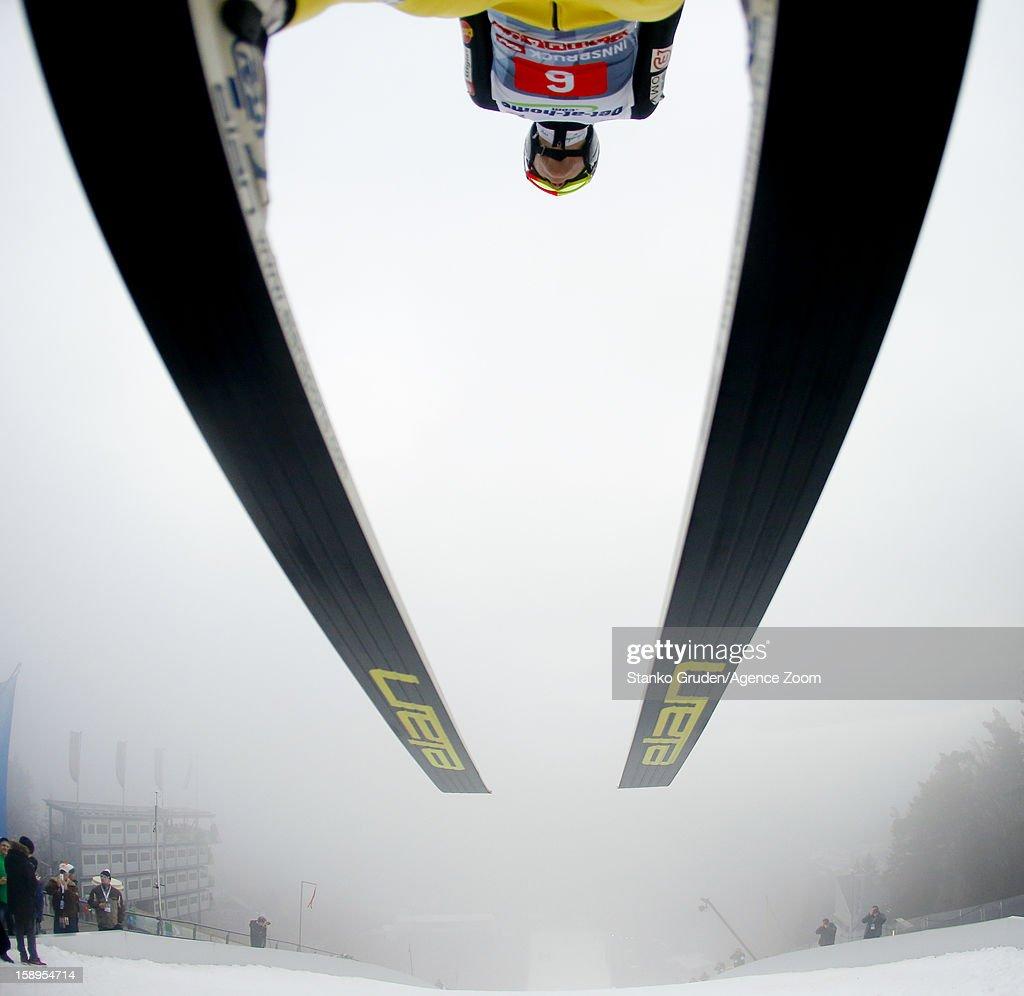 Peter Prevc of Slovenia during the FIS Ski Jumping World Cup Vierschanzentournee (Four Hills Tournament) on January 04, 2013 in Innsbruck, Austria.