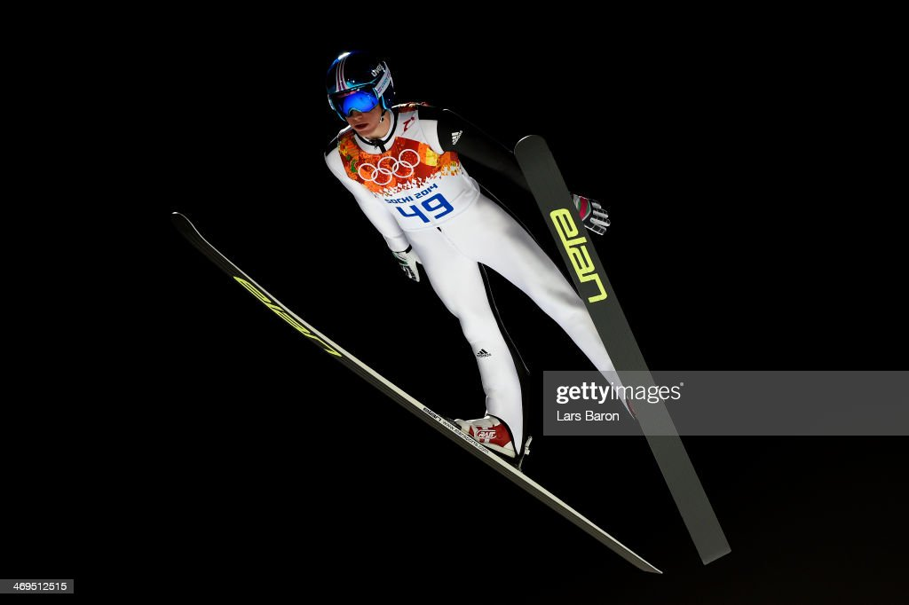 Peter Prevc of Slovenia jumps during the Men's Large Hill Individual 1st Round on day 8 of the Sochi 2014 Winter Olympics at the RusSki Gorki Ski...