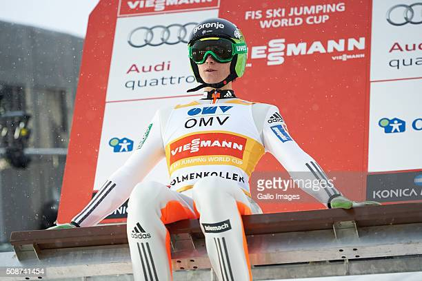 Peter Prevc of Slovenia prepares to compete during the FIS Ski Jumping World Cup MenÕs HS134 Qualification on February 5 2016 in Oslo Norway FIS is...