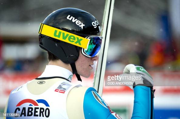 Peter Prevc of Slovenia reacts after his final jump during the FIS Ski Jumping World Cup team competition on the Muehlenkopfschanze hill in Willingen...