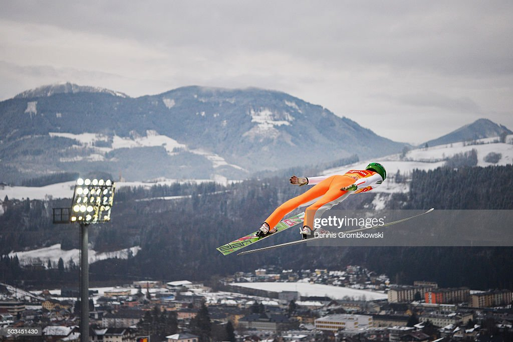 Peter Prevc of Slovenia soars through the air during his trial jump on Day 1 of the Bischofshofen 64th Four Hills Tournament ski jumping event on...