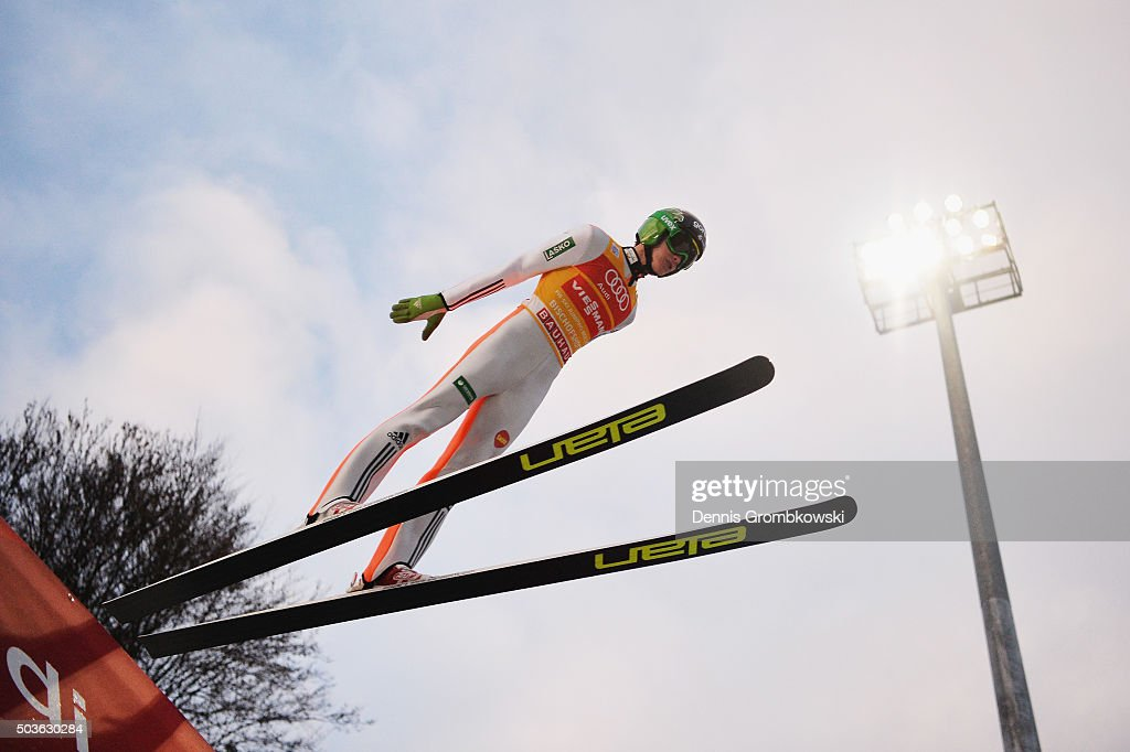 <a gi-track='captionPersonalityLinkClicked' href=/galleries/search?phrase=Peter+Prevc&family=editorial&specificpeople=6667561 ng-click='$event.stopPropagation()'>Peter Prevc</a> of Slovenia soars through the air during his trial jump on Day 2 of the Bischofshofen 64th Four Hills Tournament ski jumping event on January 6, 2016 in Bischofshofen, Austria.