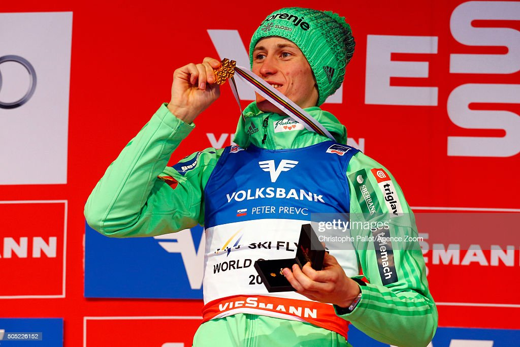 <a gi-track='captionPersonalityLinkClicked' href=/galleries/search?phrase=Peter+Prevc&family=editorial&specificpeople=6667561 ng-click='$event.stopPropagation()'>Peter Prevc</a> of Slovenia takes gold medals during the FIS Ski Flying World Championships Men's HS225 on January 16, 2016 in Bad Mitterndorf, Austria