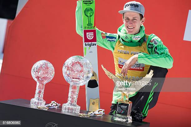 Peter Prevc of Slovenia with all the trophies that he won in season 2015/2016 at the Planica FIS Ski Jumping World Cup final