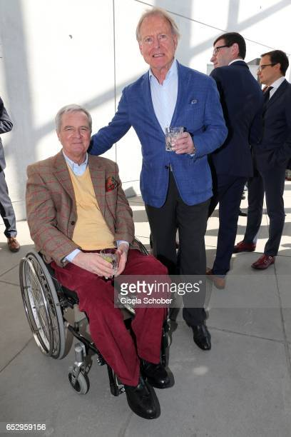 Peter Prinz zu Hohenlohe and Christian Graf von Pfuel pose during the Gentlemen Art Lunch at Pinakothek der Moderne on March 13 2017 in Munich Germany