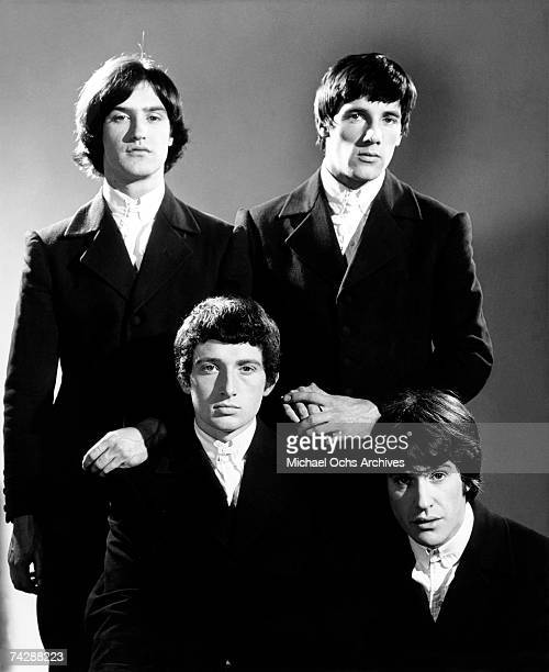 Peter Quaife Ray Davies Dave Davies Mick Avory of the rock group 'The Kinks' pose for a portrait session in 1965 in London England