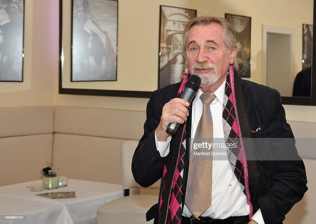 Peter Rapp speaks to the audience during the 'Peter Rapp Show 50th Anniversary On Stage' press converence at Al Centro Vienna on February 8, 2013 in Vienna, Austria.
