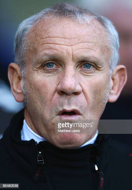 Peter Reid Assistant manager of Stoke City looks on during the Barclays Premier League match between Blackburn Rovers and Stoke City at Ewood Park on...