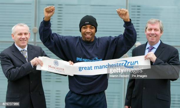Peter Reid Darren Campbell and Brendan Foster launch the first Great Manchester Run a 10k run through the centre of Manchester on 26th May 2003