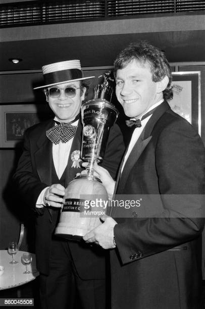 Peter Reid of Everton FC with Elton John at the PFA Players' Player of the Year event Peter Reid won the PFA Player of the Year award 24th March 1985